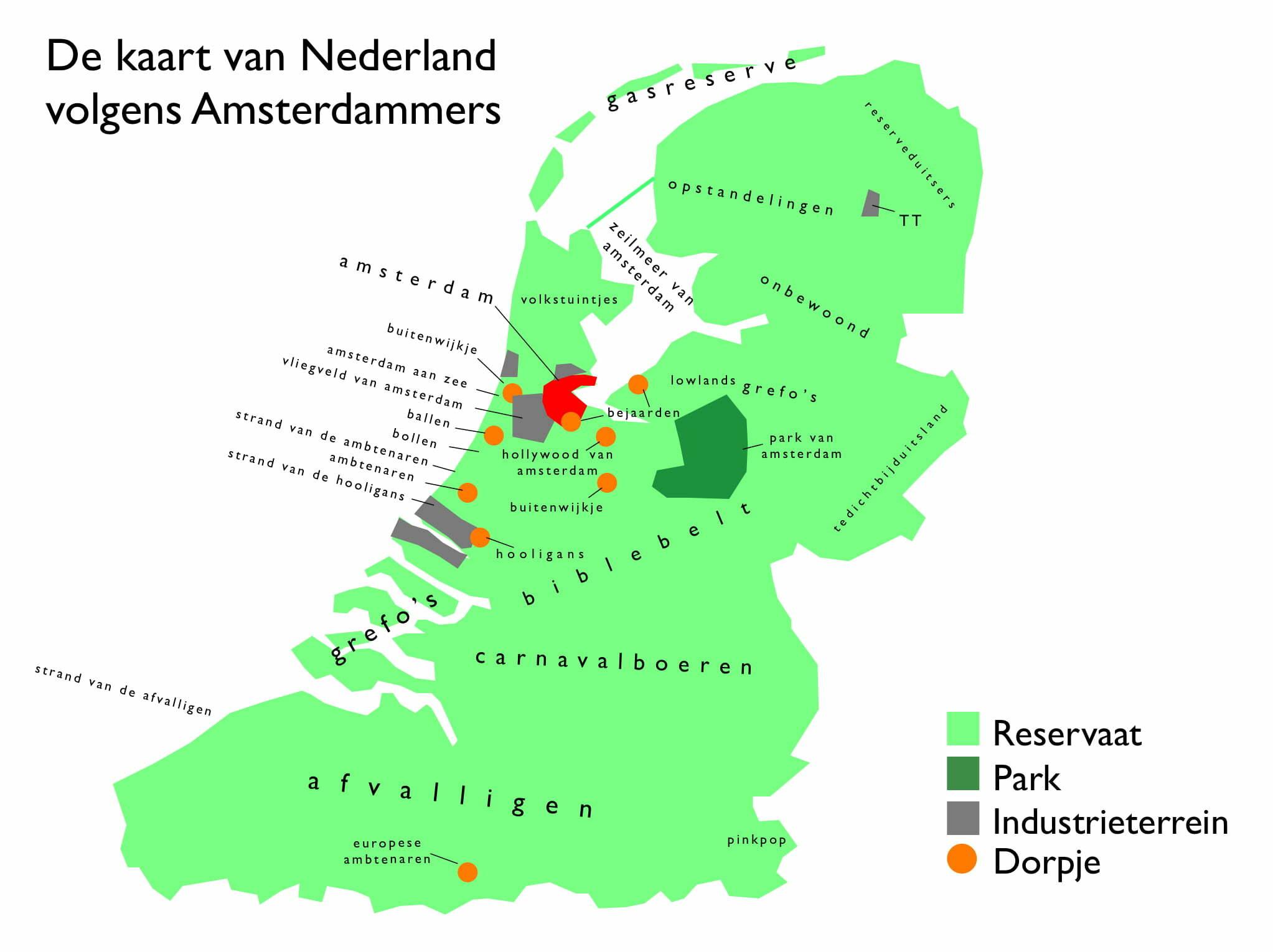 De Kaart Van Nederland Volgens Amsterdammers Hetkanwel
