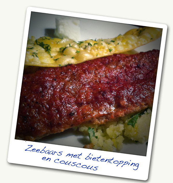 Hoofdgerecht: Zeebaars met krokante lasagne, bietentopping, couscoussalade  en walnotenmarshmallows (6p)