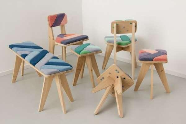 Merel Karhof bekleedt meubels met breimachine op wind