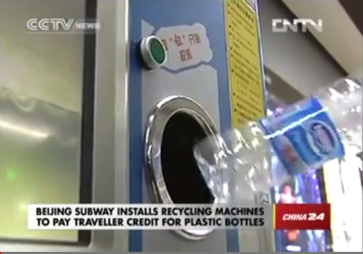 In metro Bejing krijg je OV-tegoed bij inleveren plastic flesjes