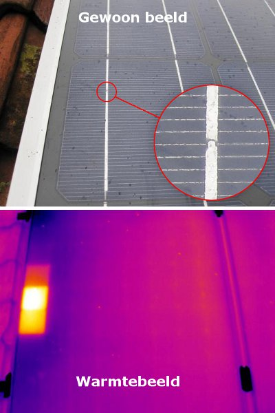 Thermografische analyse van een zonnepaneel. Foto: Ekwadraat
