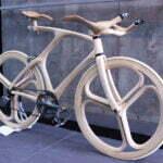 Futuristische houten fiets. Foto: Inhabitat