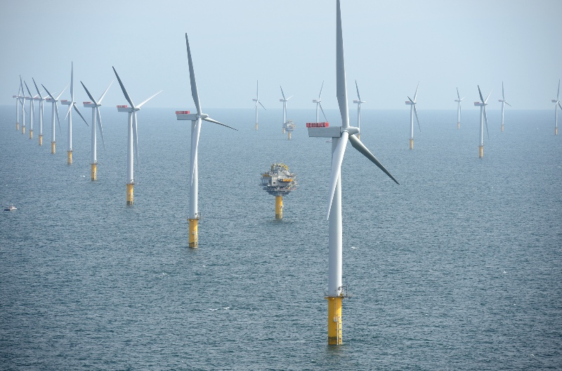 Windmolens op het windpark Sheringham Shoal Offshore Wind Farm. Foto: wikimedia commons