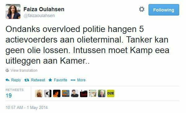Tweet Faiza Oulahsen over actie tegen schip met Noordpoololie