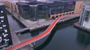 De Cykelslangen, oftewel fietsslang in aanbouw. Foto: Dissing+Weitling