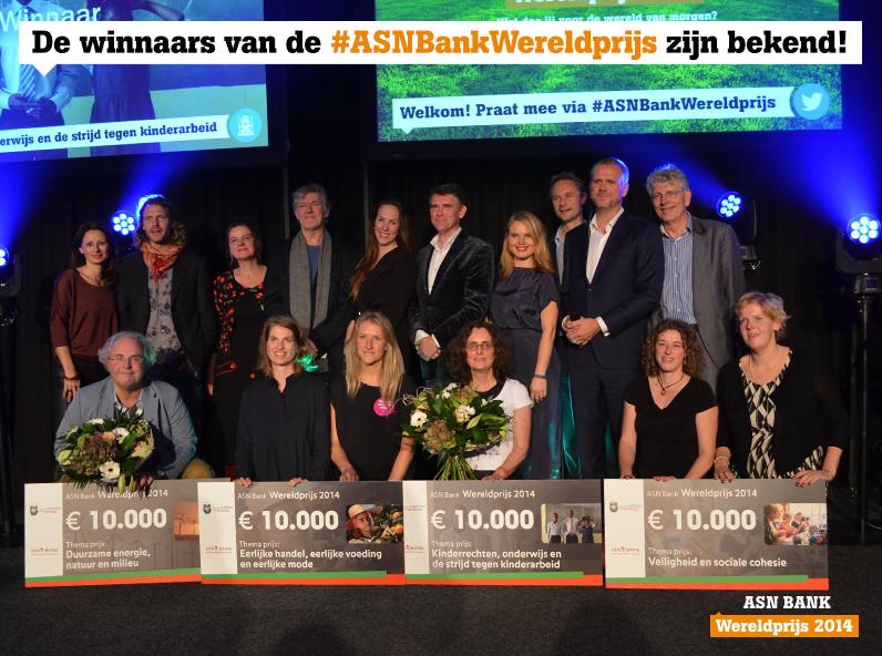 De vier winnaars van de ASN Bank Wereldprijs 2014, waaronder Yoni. Foto: Voor de Wereld van Morgen