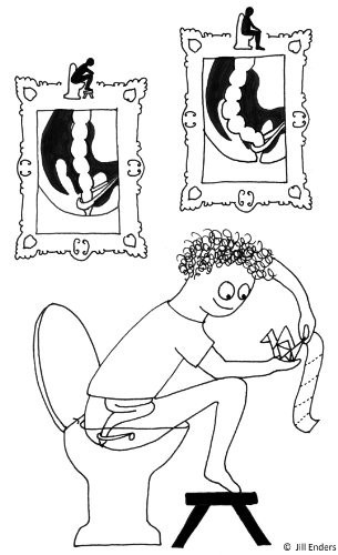 De grappige tekeningen in De Mooie Voedselmachine door Jill Enders