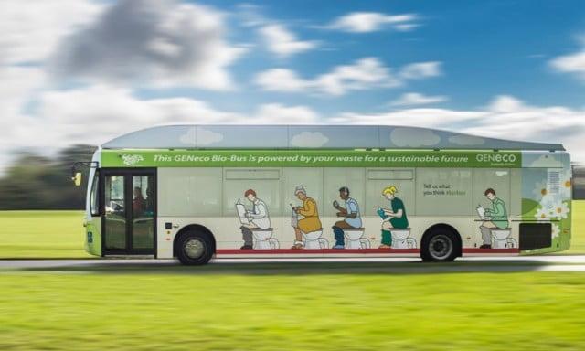 Biobus rijd op biogas uit menselijke poep. Foto: Geneco.uk.com