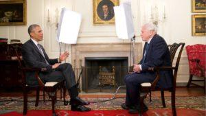 Obama interviewt David Attenborough. Foto: still uit youtube video