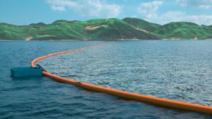 Lange stroken vangen plastic op. Foto: Ocean Cleanup