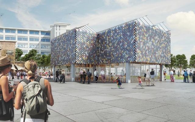 Op de Dutch Design Week staat een gebouw van geleend materiaal