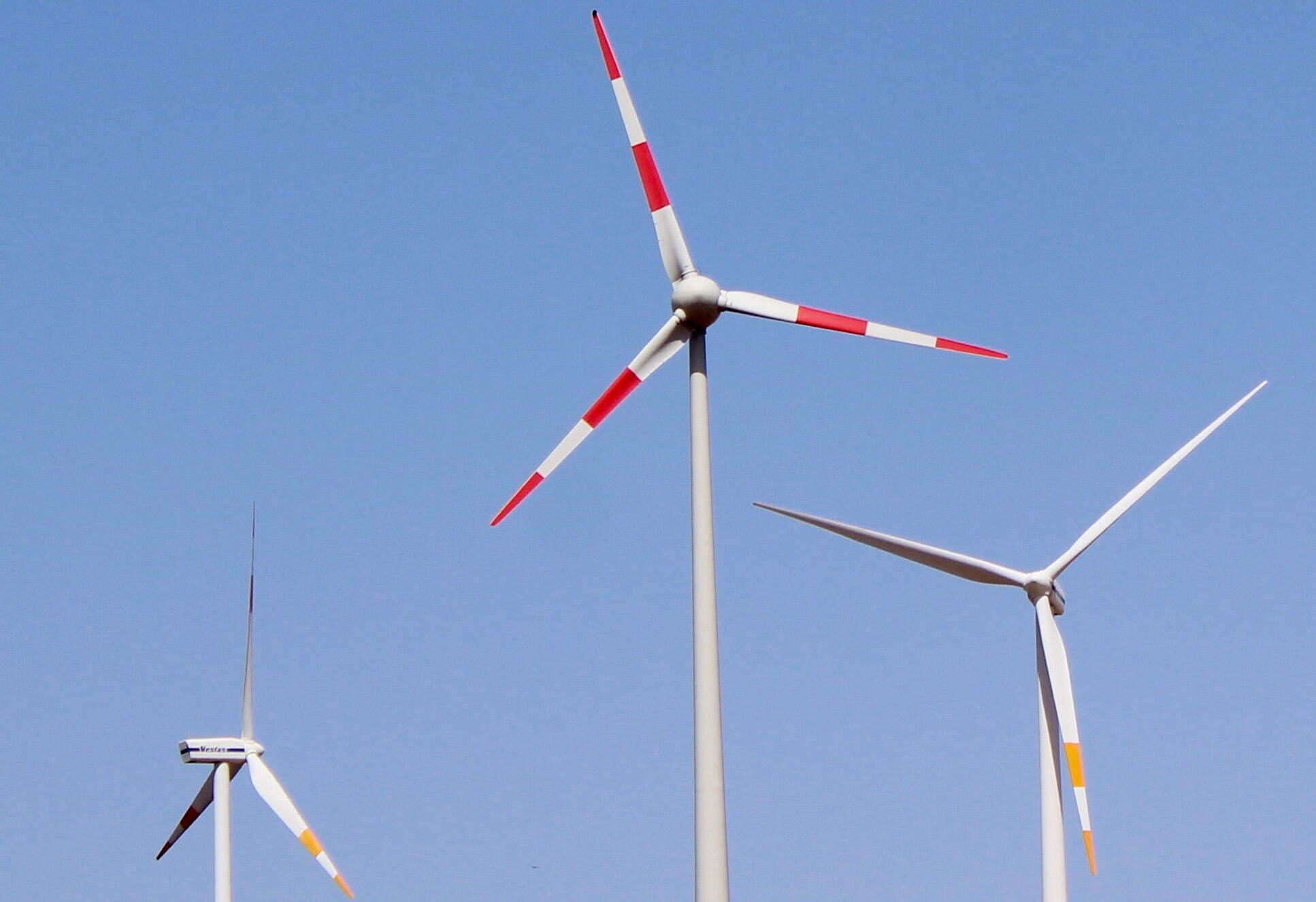 Drie windmolens voor een blauwe lucht.