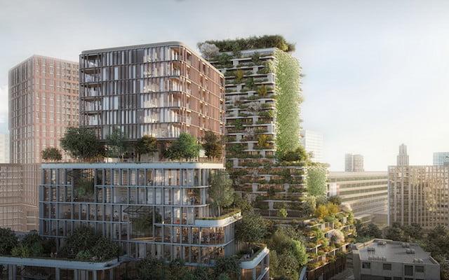 Verticale bossen vergroenen de stad