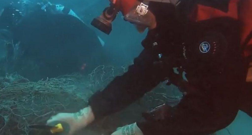 Visnetten worden badpakken. Foto: still uit youtube video